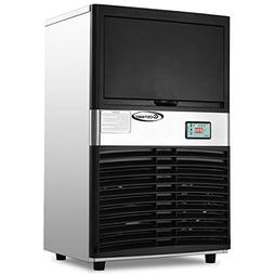 Costway 100LB/24H Commercial Ice Maker Stainless Steel Porta