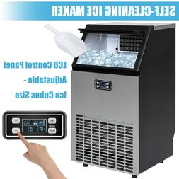 100LBS Commercial Ice Maker Built-in Ice Cube Machine Stainl