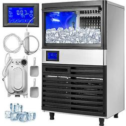 155Lbs Commercial Ice Maker Ice Cube Making Machine 70Kg LCD
