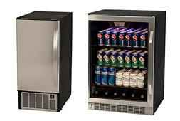 Edgestar 148 Can Stainless Steel Beverage Cooler & 45lb Stai