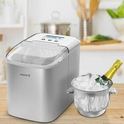 26 lbs Stainless Steel Countertop LCD Display Ice Maker