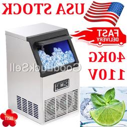 40KG 88Lbs Commercial Bar Ice Maker Cube Machines Stainless