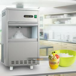 44Lbs/Day Flake Snow Ice Maker Machine Stainless Steel Home