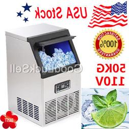 50kg Auto Commercial Ice Maker Cube Machine Stainless Steel