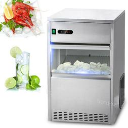 60 Lbs Ice Maker Countertop Commercial Bar House Auto Stainl