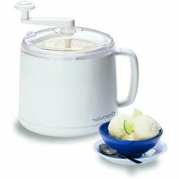 Donvier 837450 Manual Ice Cream Maker, 1-Quart, White