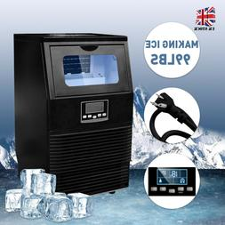 Black 99LBS Commercial Ice Maker Machines Cube Stainless Ste