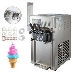 Commercial 3 Flavors Soft Ice Cream Machine 18L/H Frozen Mix