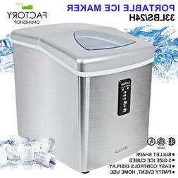 Compact Portable Ice Maker Stainless Steel 3-Size 33lbs Capa
