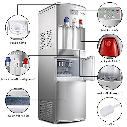 Costway 2-in-1 Water Dispenser Built-in Maker Top Loading 27LB/24H Ice Child Safety