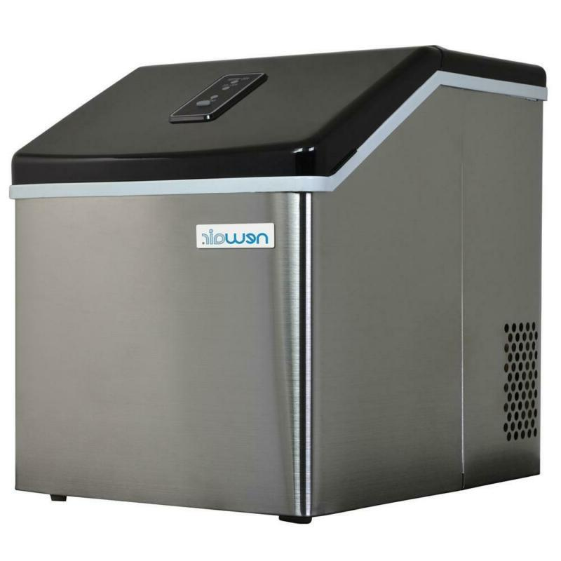 40 Lb. Countertop Clear Freestanding Ice Maker In Stainless