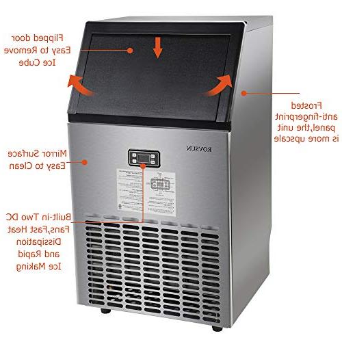 ROVSUN Commercial Ice Maker,100lbs/24h, Storage, Under Ice for Bar Cafe,5