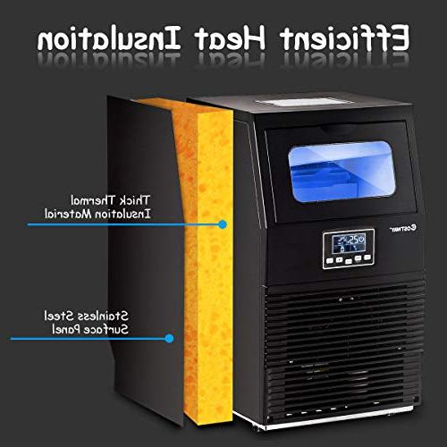 Costway Commercial Ice Maker 88 Freestanding Ice Cube Maker Machine for Cafes Snack Black