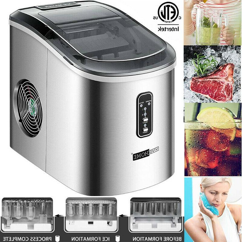 electric ice cube maker countertop compact stainless