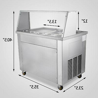 Hot Ice Cream Machine 22L/H Roll Maker Double Pan