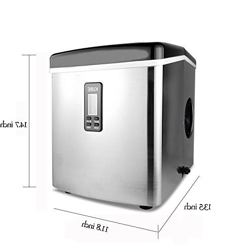 Yongtong Countertop Maker, Automatic Icemaker 33Lbs Day - 3 with LED Display, Steel, 3.3L