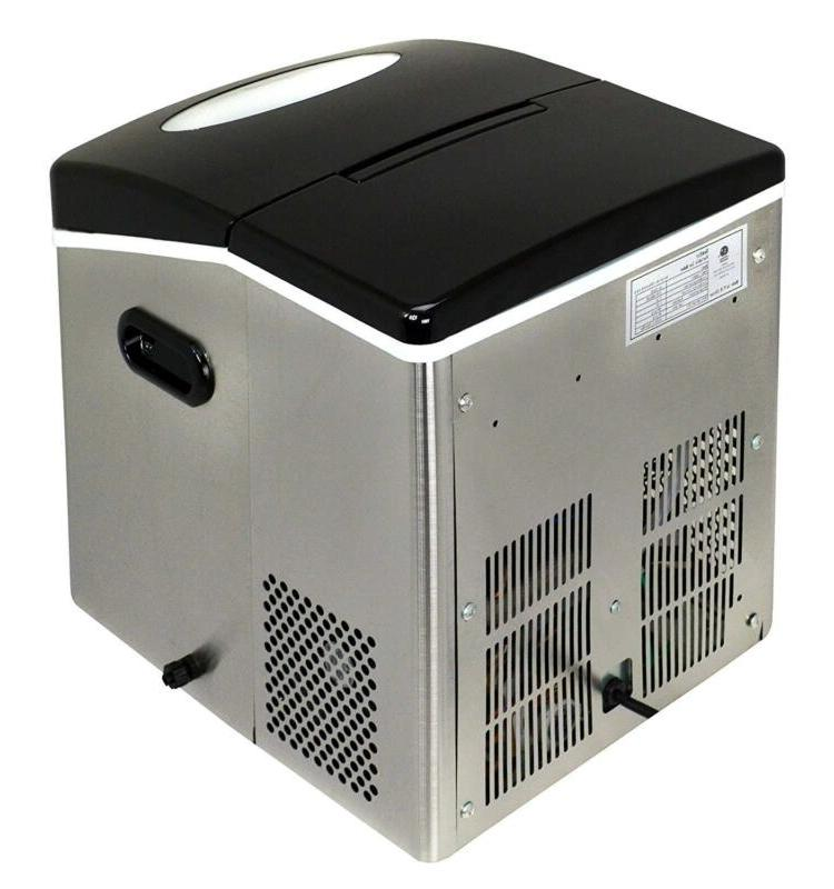 Portable Ice Maker Stainless Countertop Cube