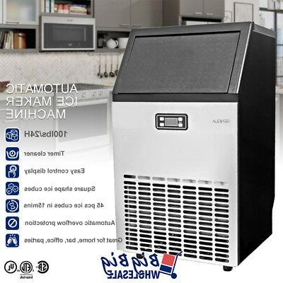 lcd commercial ice maker machine stainless steel