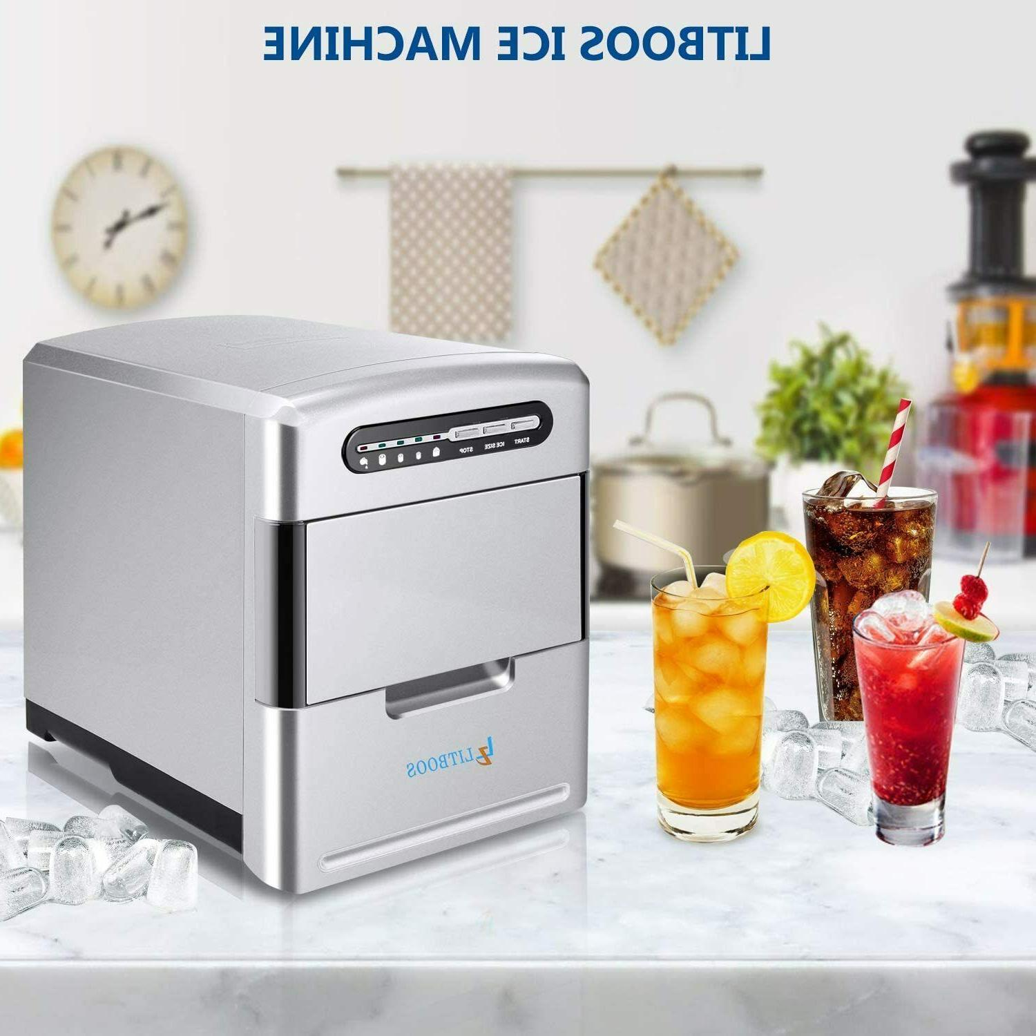 Electric Portable 26lbs/Day Ice Cube Machine Silver