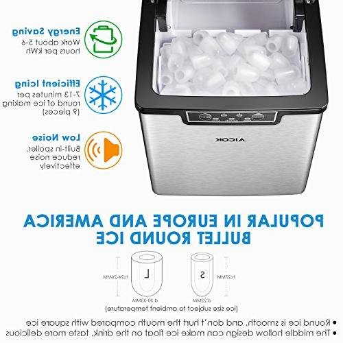 Aicok Ice Maker, Countertop 2 Makes 9 Ice in 6-10 Minutes, 26 24 Stainless Ice Making Ice Scoop,