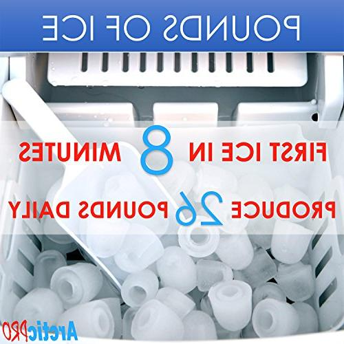 PORTABLE ICE MAKER MACHINE by Ice Scoop, in 8 Minutes, 26 Kitchens, Tailgating, Small/Large Cubes, Silver, Inches