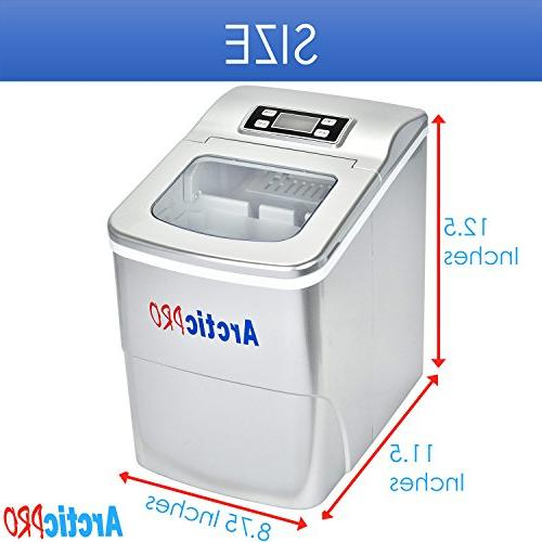 PORTABLE ICE MAKER MACHINE by Arctic-Pro Ice in Minutes, Pounds Daily, Great Kitchens, Bars, Small/Large Silver, Inches