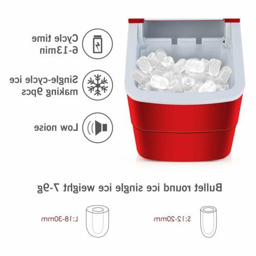 Red Compact Ice Maker Cube lb/Day Indoor