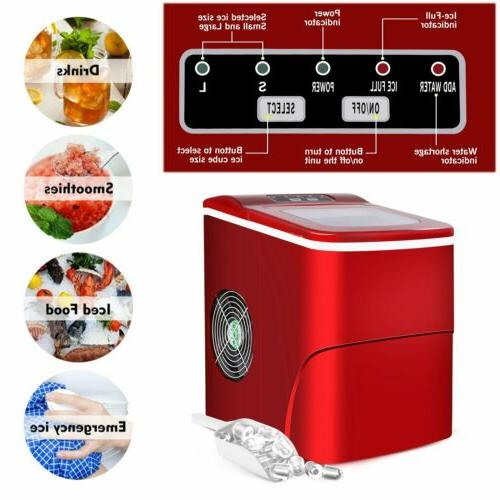 red portable compact electric ice maker machine