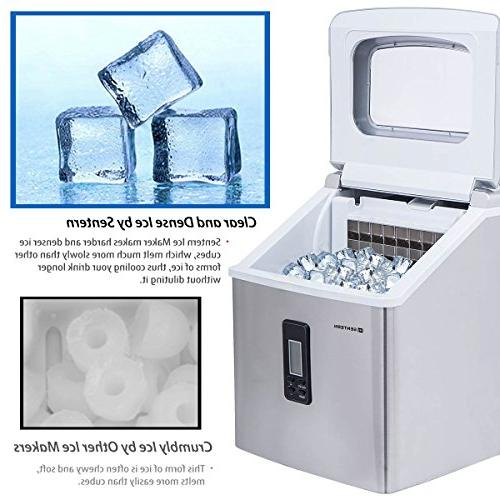 Sentern Clear Ice Steel Countertop Ice Making Storage Day, Cubes, Actual Ice, clear ice, Cube