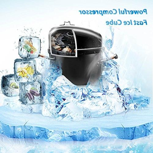 Sentern Portable Ice Machine Stainless Steel Countertop Ice Machine 2.4 Ice Storage Day, Real Cubes, Actual clear ice, NOT Cube