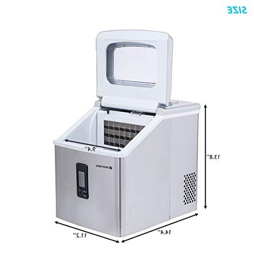 Sentern Ice Maker Machine Steel Machine Storage 48 Day, Cubes, Cube