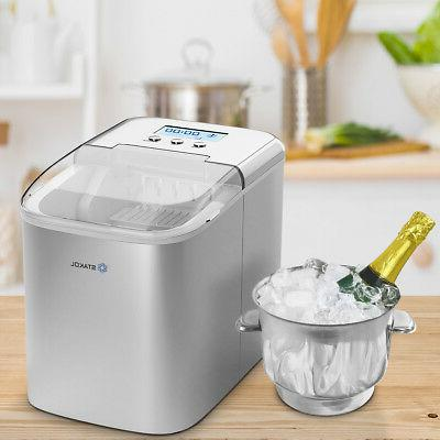 Stainless Ice Maker Countertop 26LBS/24H LCD W/Scoop