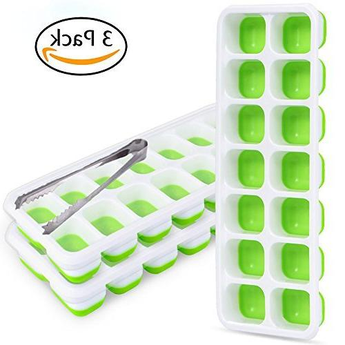 Upgrade Ice Trays Pack Lid and Ice 42-Ice Trays BPA Non-toxic for Cocktail Green