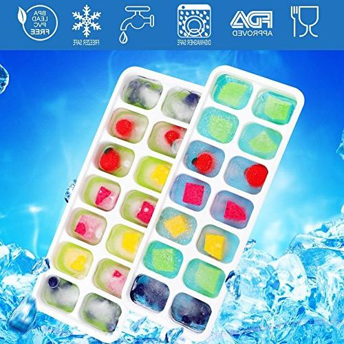 Upgrade Ice Cube Trays Pack with Lid and 42-Ice Trays BPA Non-toxic and for