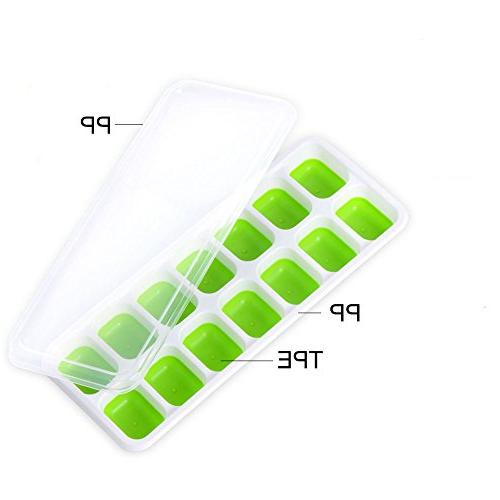 Upgrade Silicone Trays Chocolate Pack with Spill-Resistant Lid and 42-Ice Trays BPA Non-toxic and for Drinks Whiskey Cocktail Green