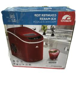 Red Portable Electric Ice Maker. Compact Countertop Ice Cube