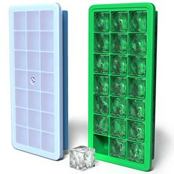 Vremi Silicone Ice Cube Trays with Lids - 2 Piece Covered Ic