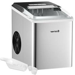 Stainless Steel Ice Maker Machine Countertop 26Lbs/24H Self-