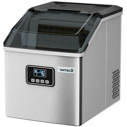 Stainless Steel Ice Maker Machine Home 48Lbs/24H Self-Clean
