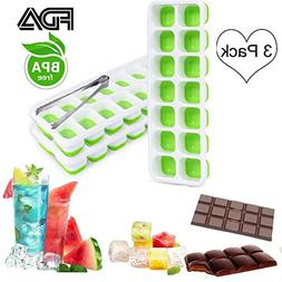 Upgrade Silicone Ice Cube Trays Chocolate Molds 3 Pack with