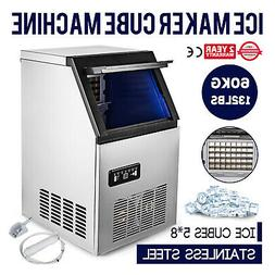 60kg/132LB Commercial Ice Maker Ice Cube Machine Built-In Un