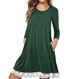 FEITONG Women's Long Sleeve Cotton Lace T Shirt Dress with P